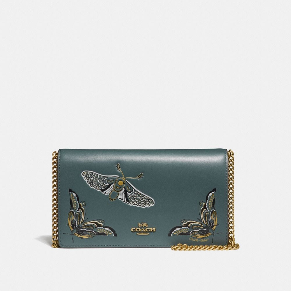 CALLIE FOLDOVER CHAIN CLUTCH WITH TATTOO