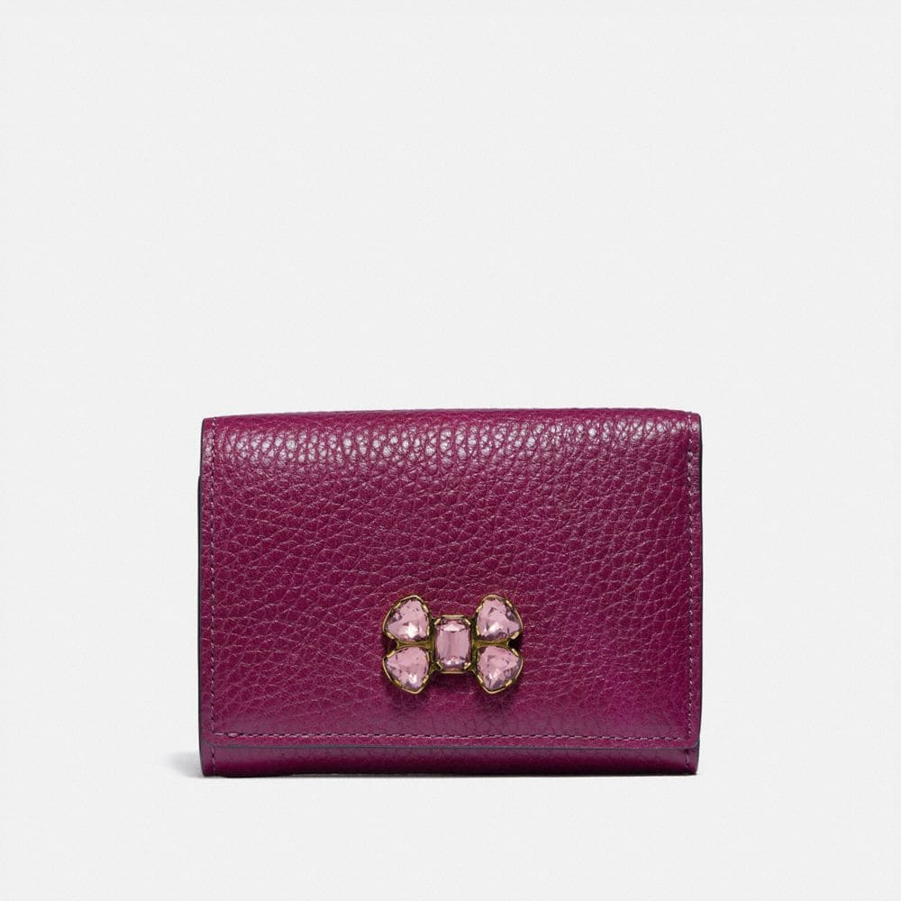 SMALL FLAP WALLET WITH CRYSTAL APPLIQUE