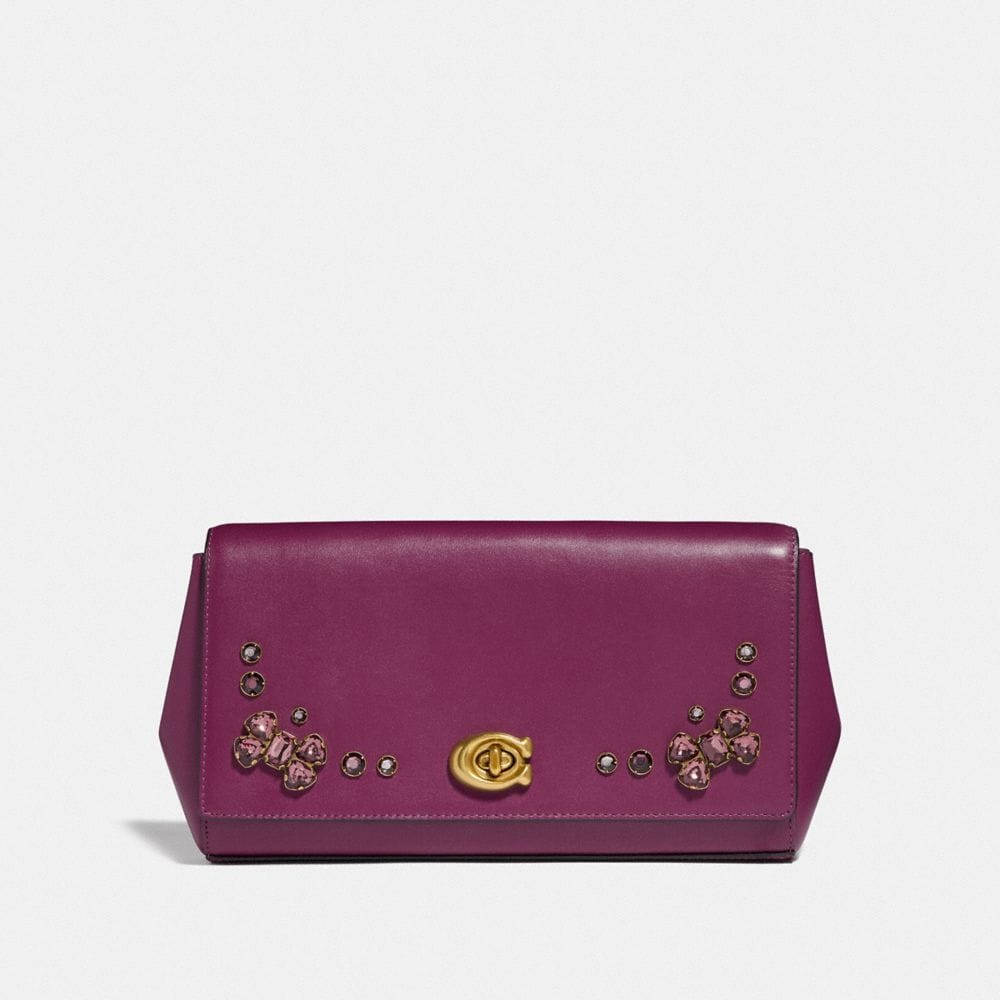 ALEXA TURNLOCK CLUTCH WITH CRYSTAL APPLIQUE