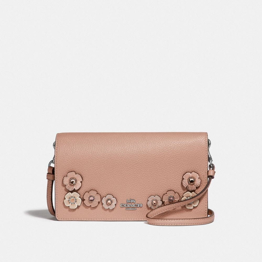 HAYDEN FOLDOVER CROSSBODY CLUTCH WITH CRYSTAL TEA ROSE