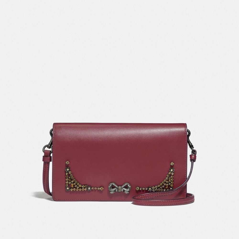 SELENA FOLDOVER CROSSBODY CLUTCH WITH CRYSTAL EMBELLISHMENT