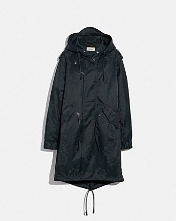PARKA LUNGO IN JACQUARD FLOREALE