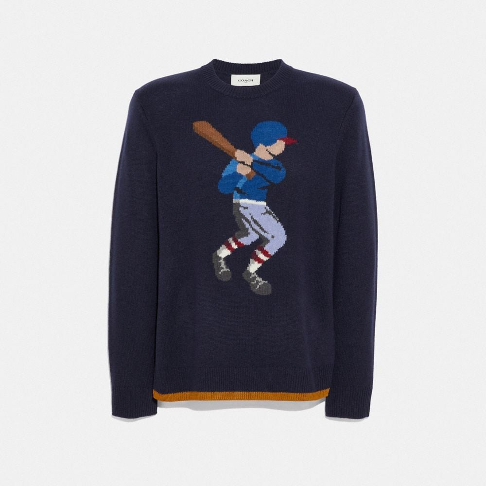 BASEBALL INTARSIA SWEATER
