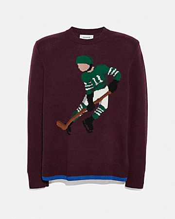 HOCKEY INTARSIA SWEATER