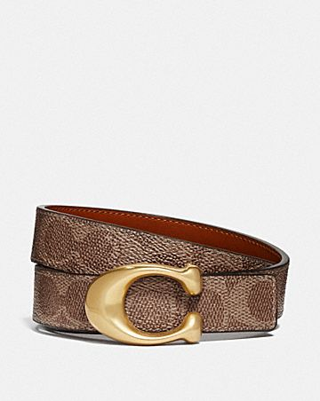 SCULPTED SIGNATURE REVERSIBLE BELT IN SIGNATURE CANVAS