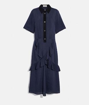 STRIPED LONG RUFFLE SHIRT DRESS