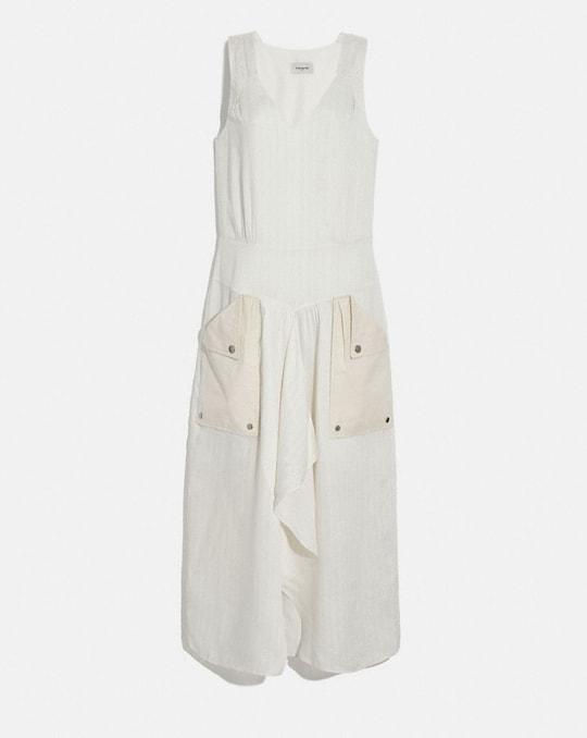 SILK STRIPE LONG DRESS WITH SNAP POCKETS