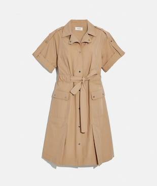 COTTON TIE WAIST SHIRT DRESS