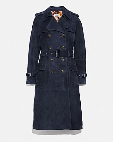 SUEDE TRENCH WITH PRINTED LINING