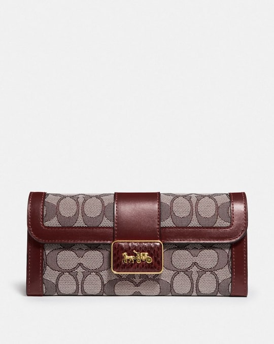 ALIE WALLET IN SIGNATURE JACQUARD WITH SNAKESKIN DETAIL