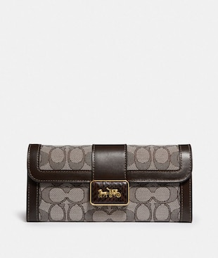 ALLIE WALLET IN SIGNATURE JACQUARD WITH SNAKESKIN DETAIL