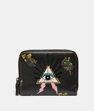 SMALL ZIP AROUND WALLET WITH PYRAMID EYE