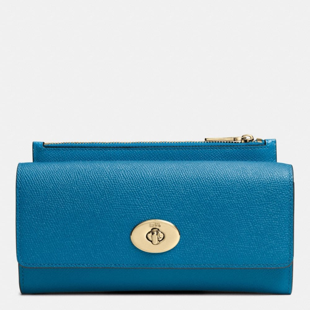 SLIM ENVELOPE WALLET WITH POP-UP POUCH IN EMBOSSED TEXTURED LEATHER