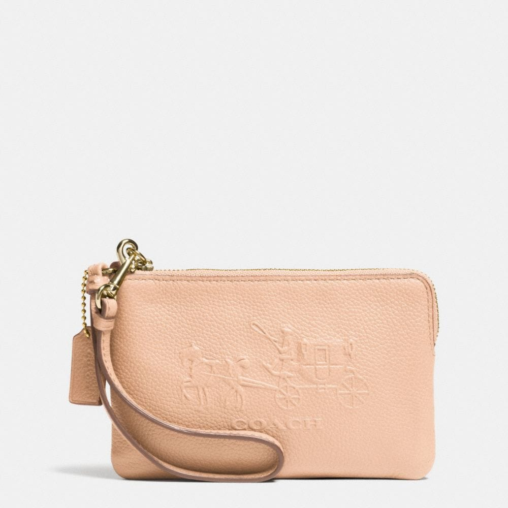 EMBOSSED HORSE AND CARRIAGE SMALL L-ZIP WRISTLET IN LEATHER
