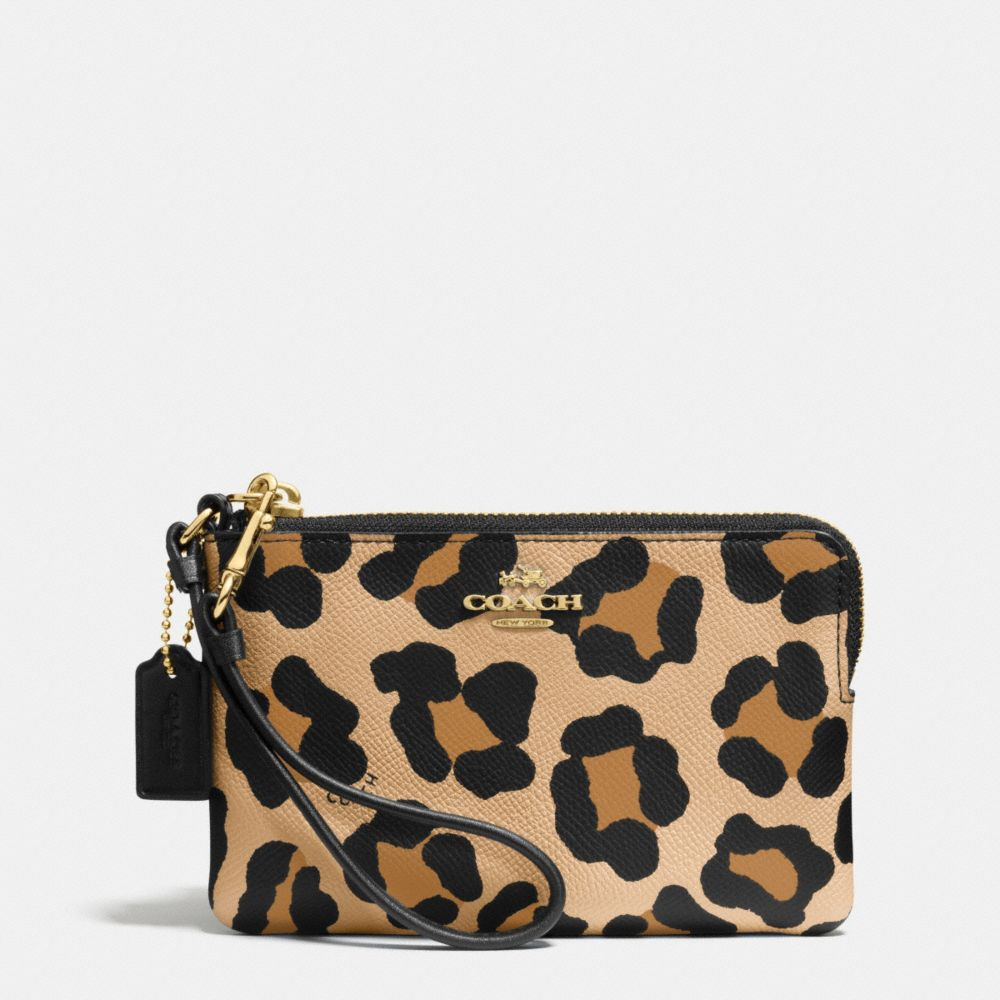 CORNER ZIP WRISTLET IN OCELOT PRINT CROSSGRAIN LEATHER