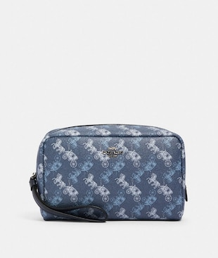 BOXY COSMETIC CASE WITH HORSE AND CARRIAGE PRINT
