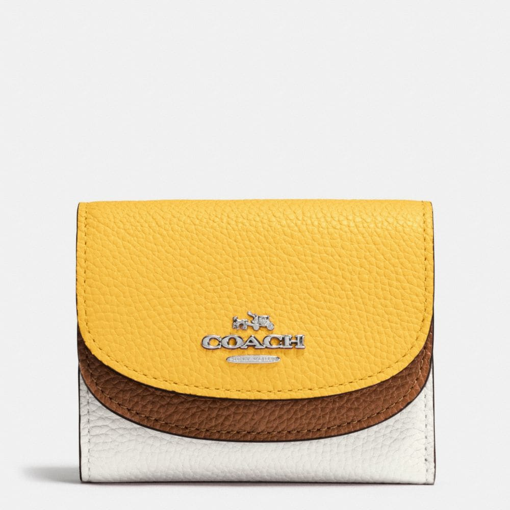 DOUBLE FLAP SMALL WALLET IN COLORBLOCK LEATHER
