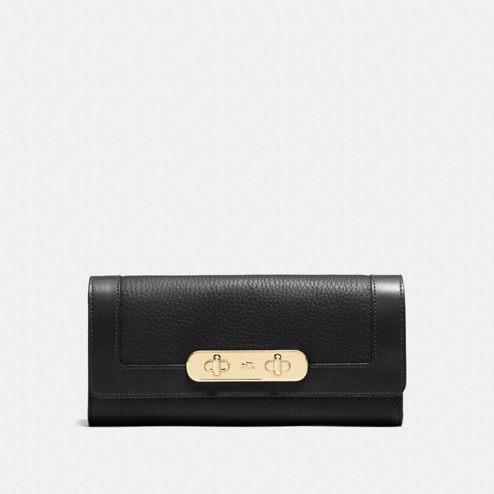COACH SWAGGER SLIM ENVELOPE WALLET IN PEBBLE LEATHER
