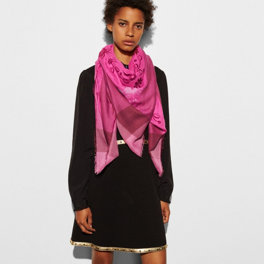 WILLOW FLORAL FLOCKED WINDOWPANE CHALLIS SCARF