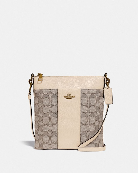 KITT MESSENGER CROSSBODY IN SIGNATURE JACQUARD