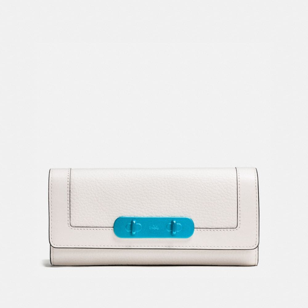 COACH SWAGGER SLIM ENVELOPE WALLET WITH CARABINER HARDWARE IN PEBBLE LEATHER