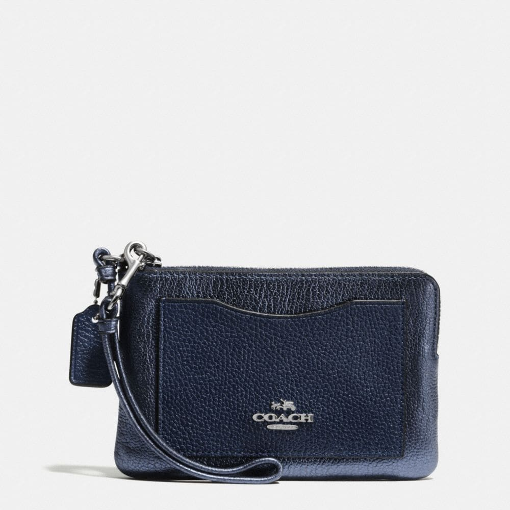 CORNER ZIP WRISTLET IN COLORBLOCK LEATHER