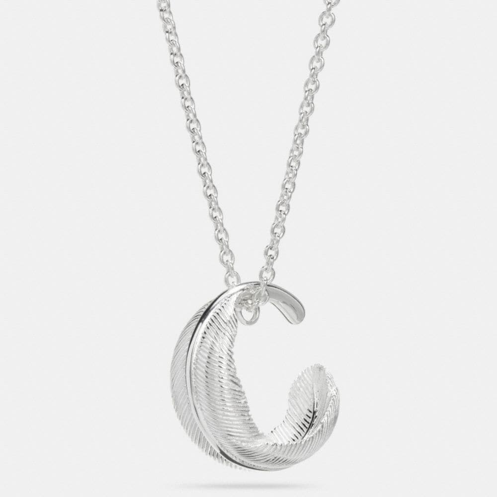 STERLING SILVER CIRCLE FEATHER NECKLACE