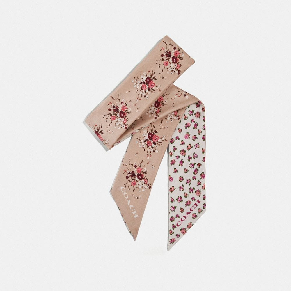 MINI VINTAGE ROSE PRINT SILK SKINNY SCARF WITH LEATHER PERSONALIZATION