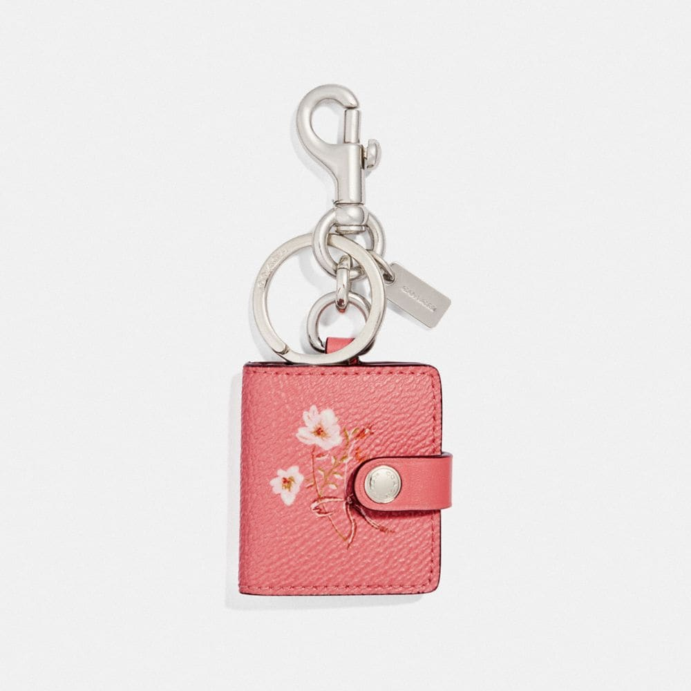 PICTURE FRAME BAG CHARM WITH FLORAL BOW PRINT