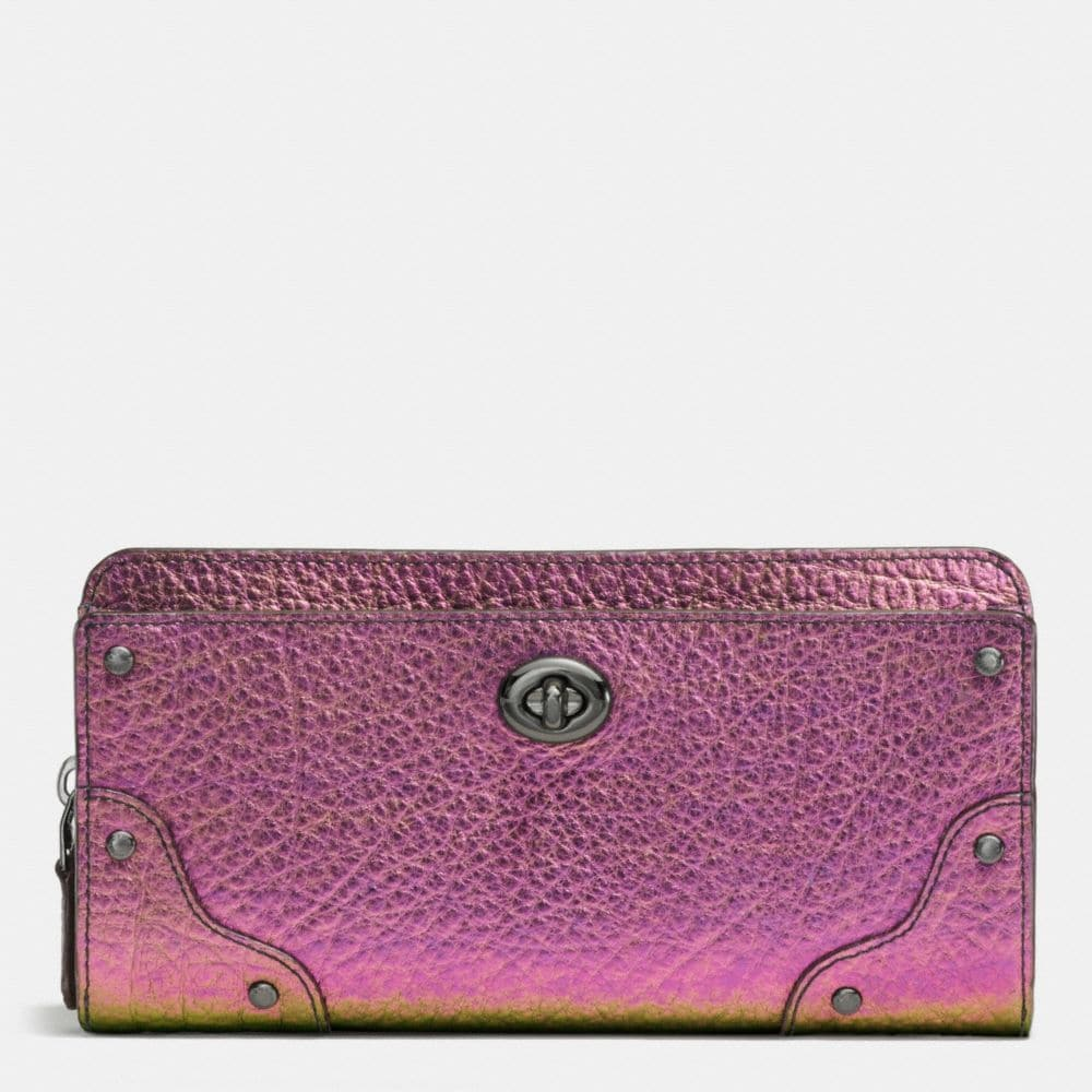 MERCER ACCORDION ZIP WALLET IN HOLOGRAM LEATHER