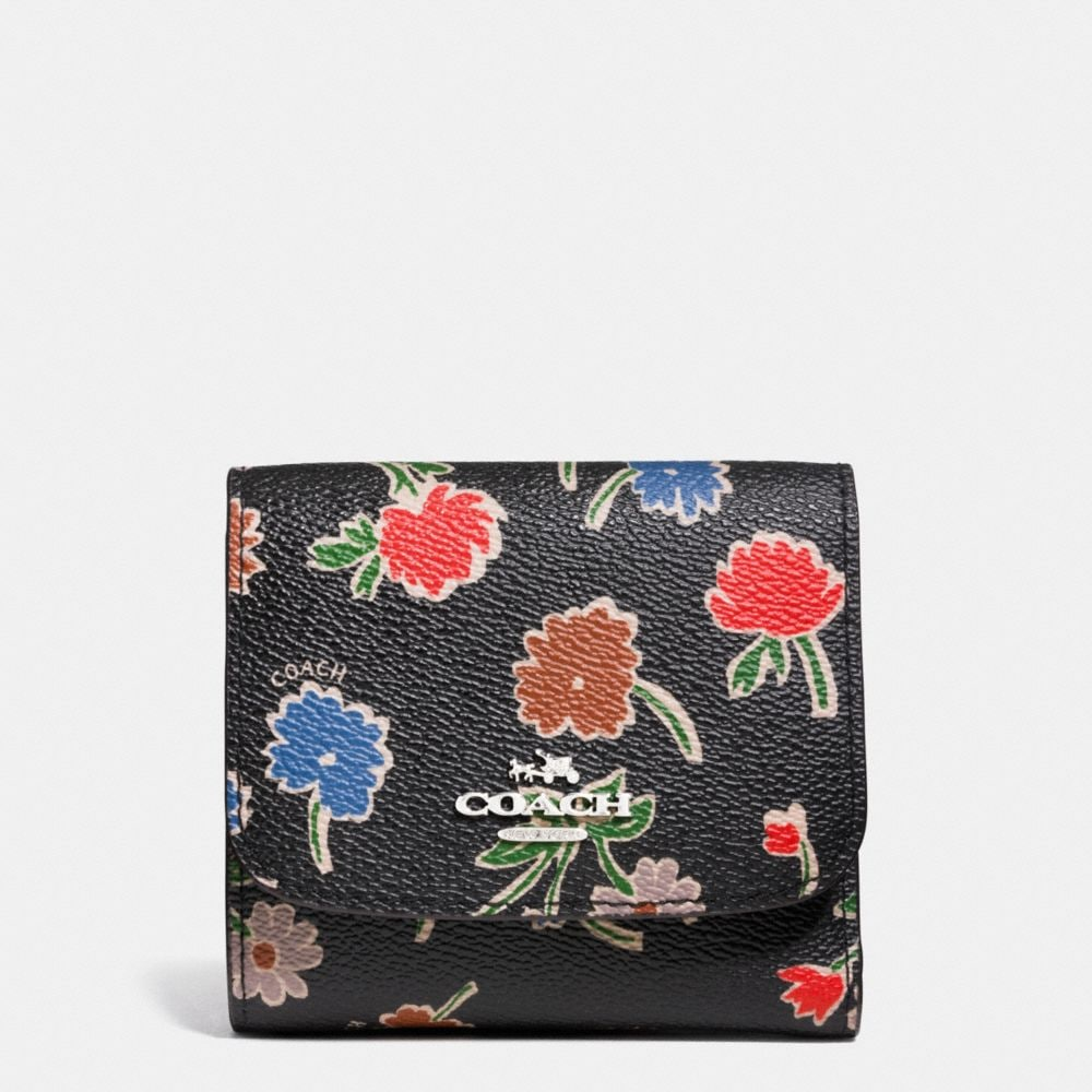 SMALL WALLET IN DAISY FIELD PRINT COATED CANVAS