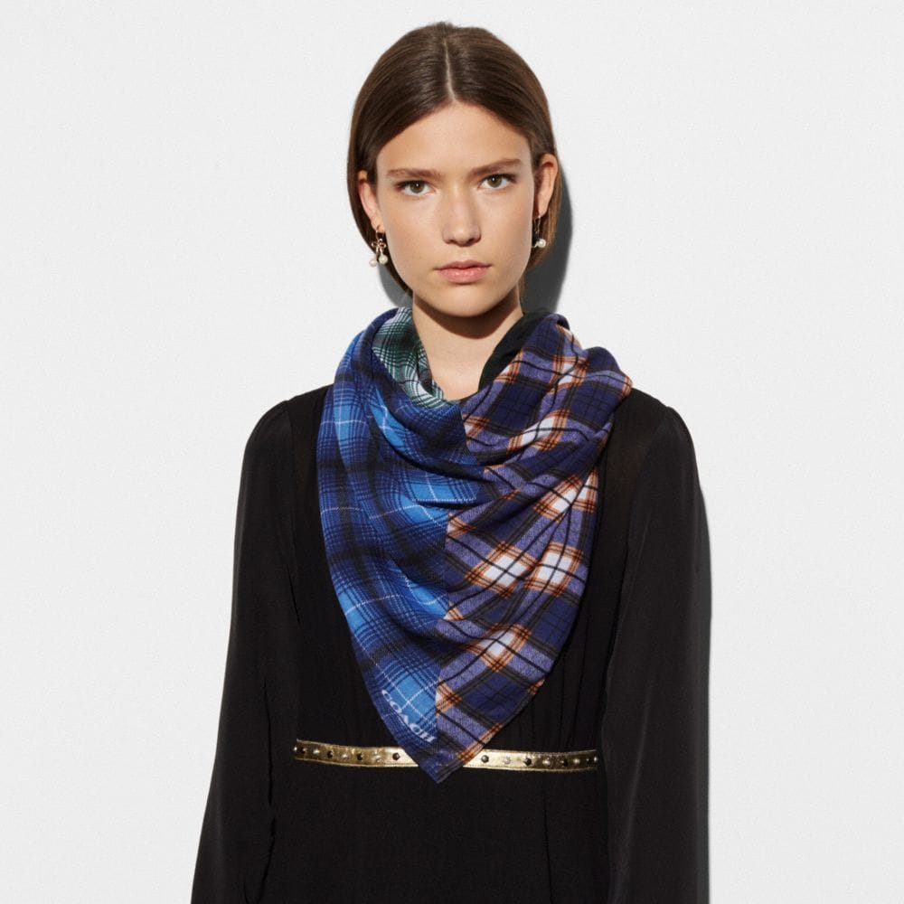 PLAID MIX OVERSIZED SQUARE SCARF