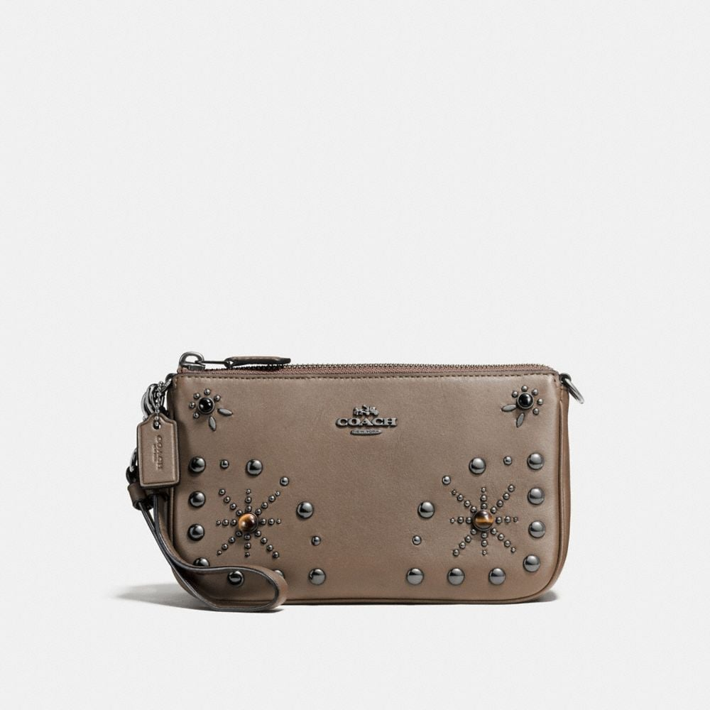 NOLITA WRISTLET 19 IN GLOVETANNED LEATHER WITH WESTERN RIVETS
