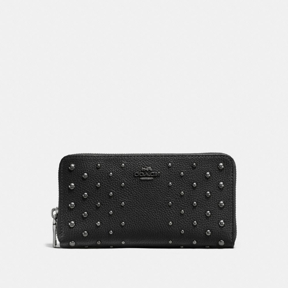 ACCORDION ZIP WALLET IN POLISHED PEBBLE LEATHER WITH OMBRE RIVETS
