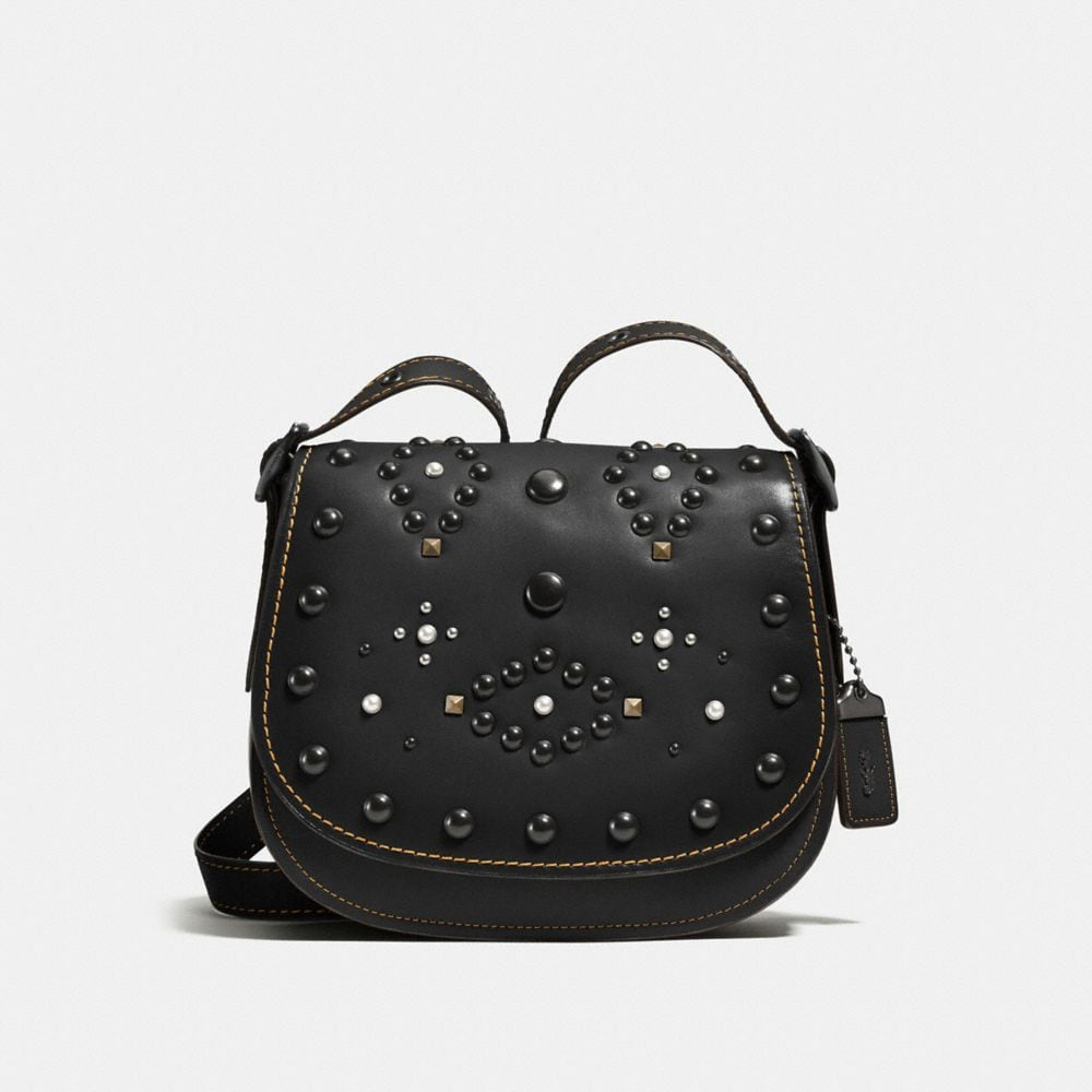 WESTERN RIVETS SADDLE BAG 23 IN GLOVETANNED LEATHER