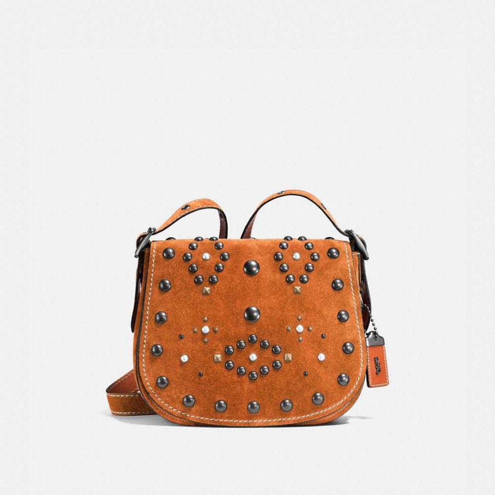 WESTERN RIVETS SADDLE BAG 23 IN SUEDE