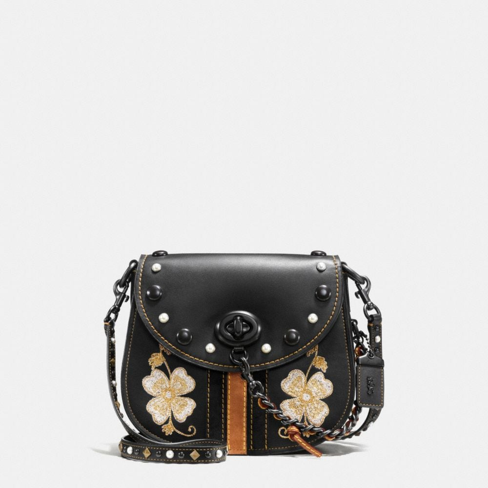 WESTERN EMBROIDERY TURNLOCK SADDLE BAG 23 IN GLOVETANNED LEATHER