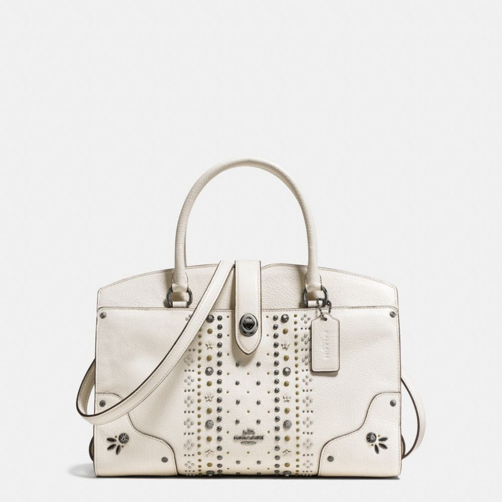 MERCER SATCHEL 30 IN POLISHED PEBBLE LEATHER WITH BANDANA RIVETS