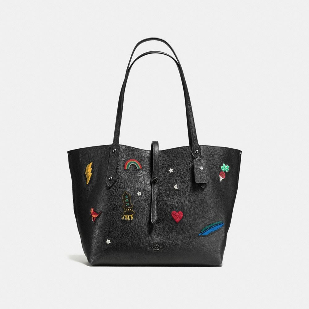 MARKET TOTE IN POLISHED PEBBLE LEATHER WITH SOUVENIR EMBROIDERY