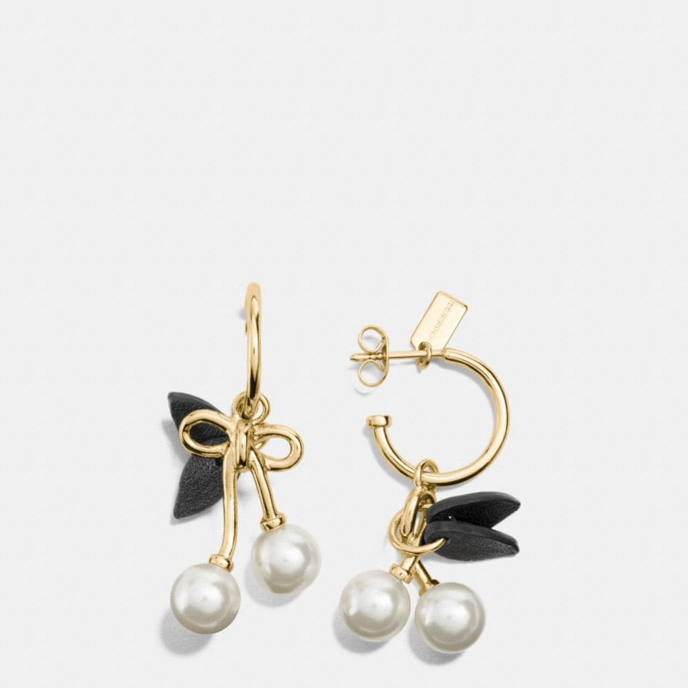PEARL KISSLOCK CHERRY HOOP EARRINGS