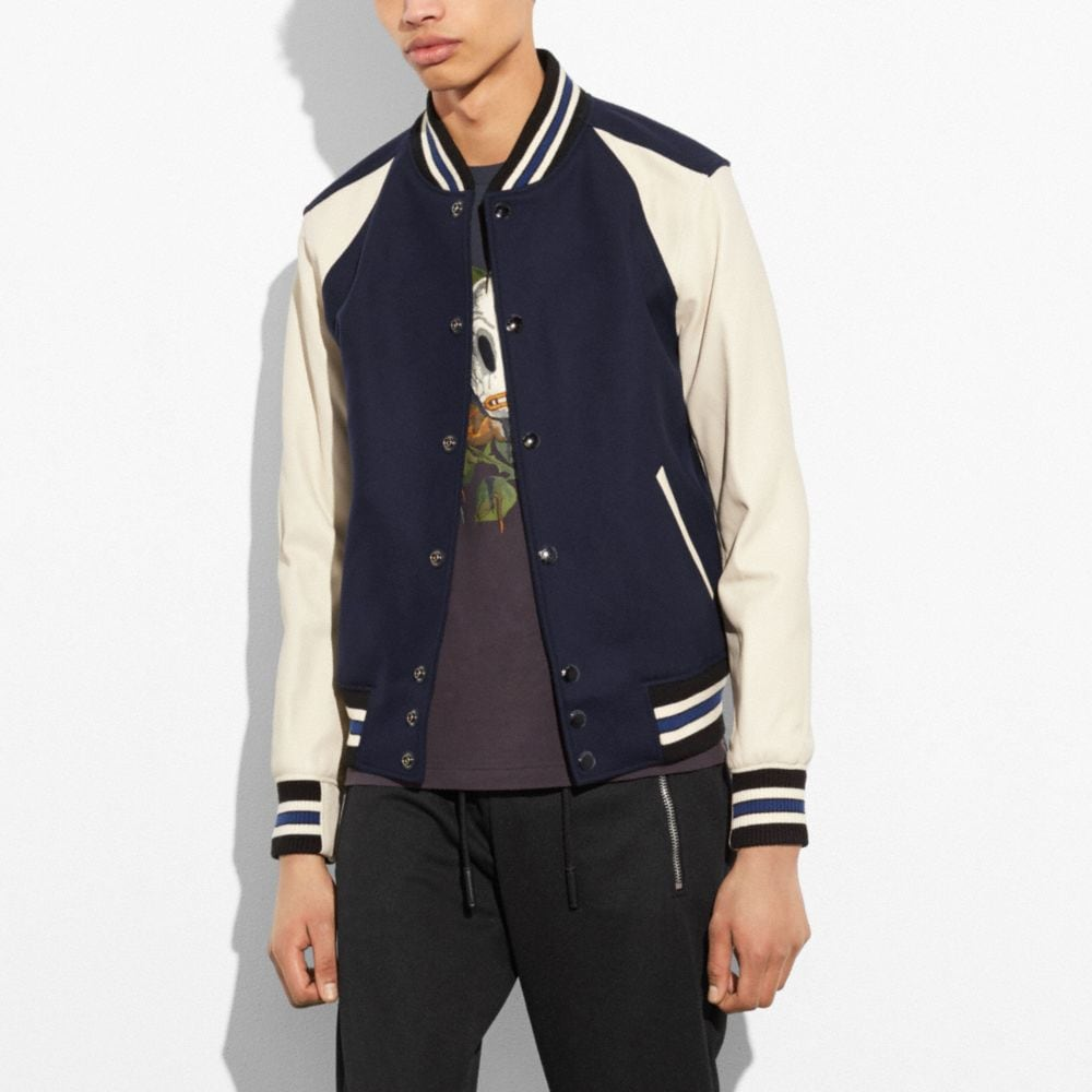 WOOL LEATHER VARSITY JACKET