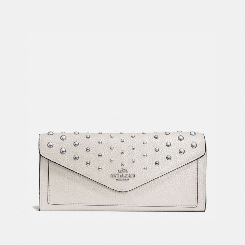SOFT WALLET IN POLISHED PEBBLE LEATHER WITH OMBRE RIVETS