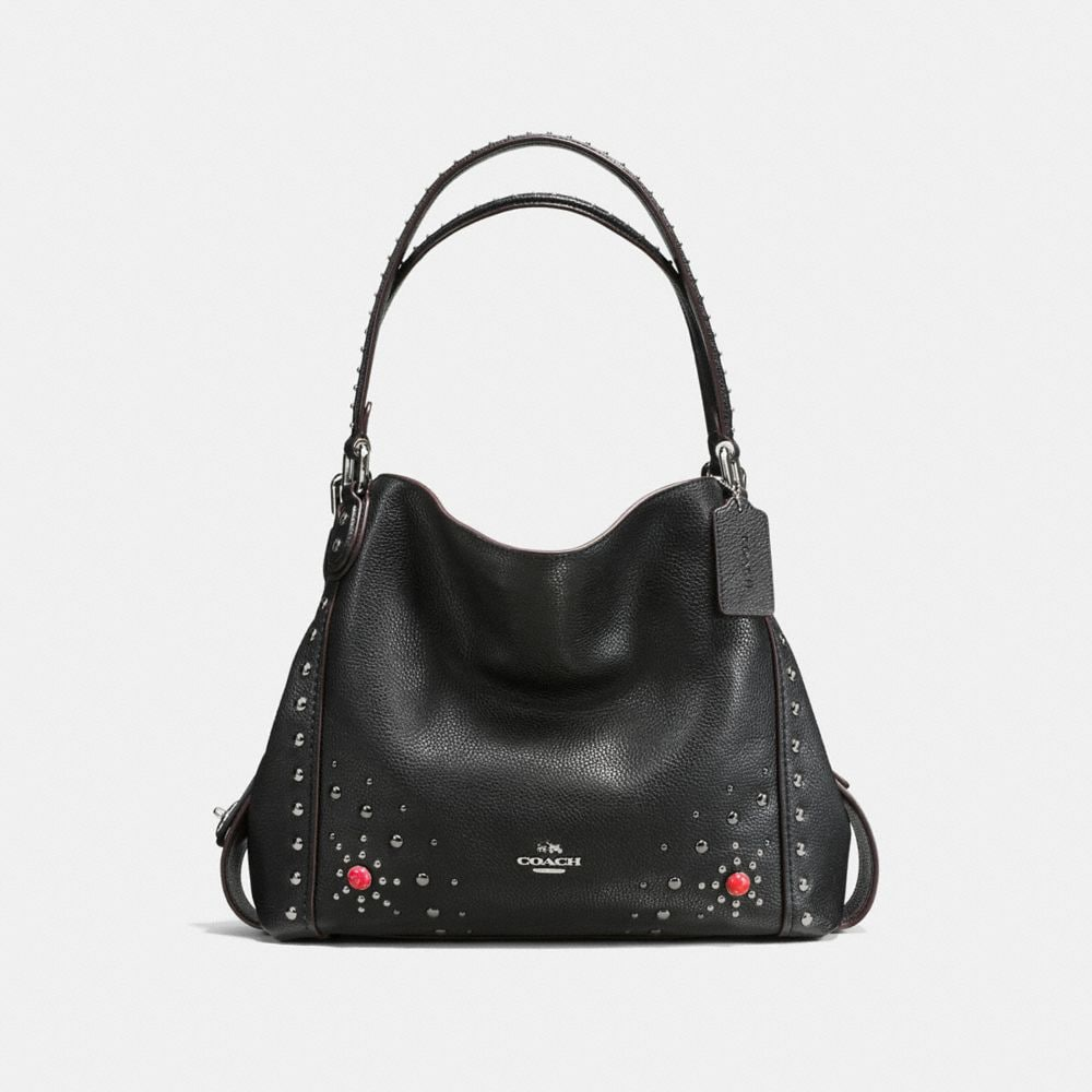 WESTERN RIVETS EDIE SHOULDER BAG 31 IN POLISHED PEBBLE LEATHER