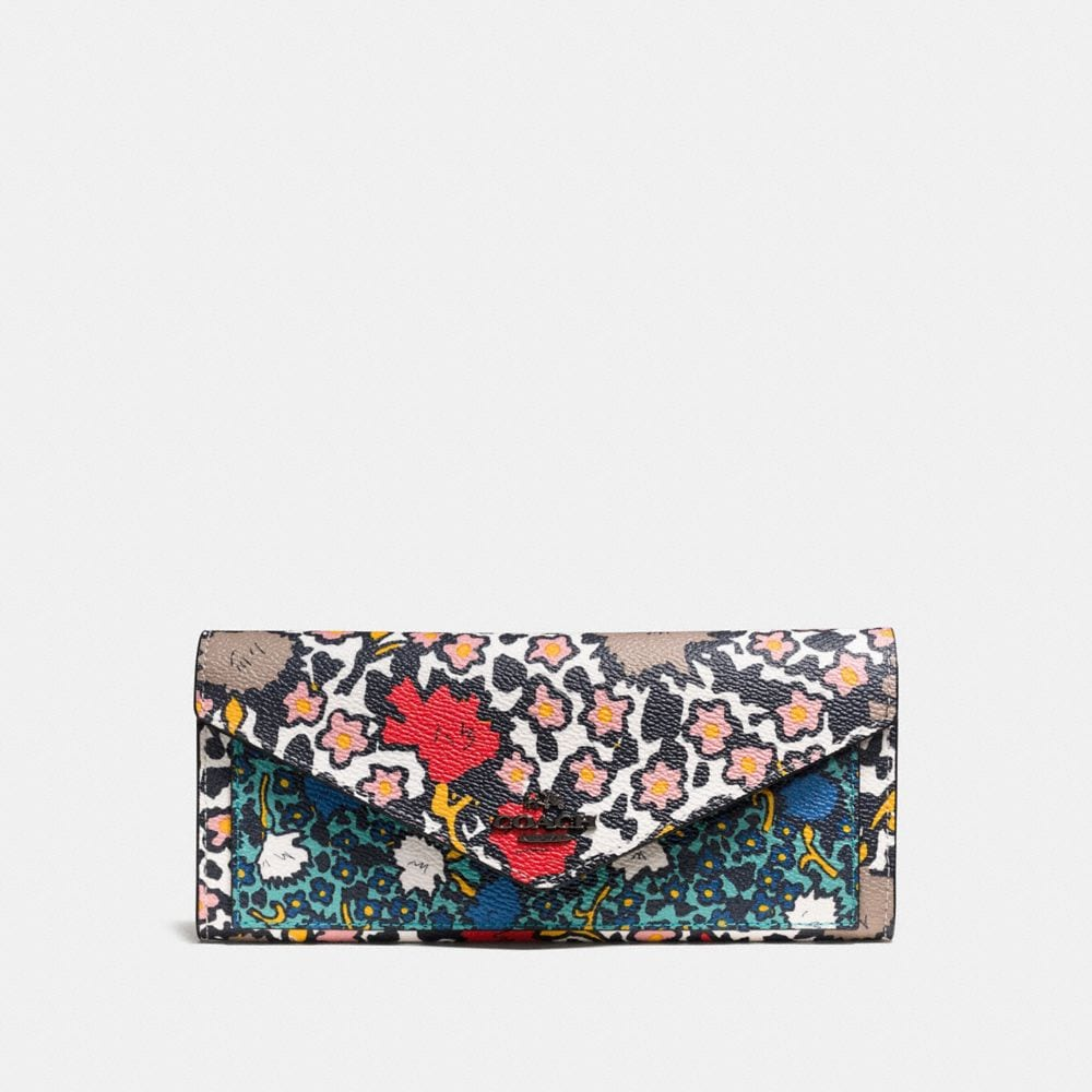 SOFT WALLET IN MIXED YANKEE FLORAL PRINT CANVAS