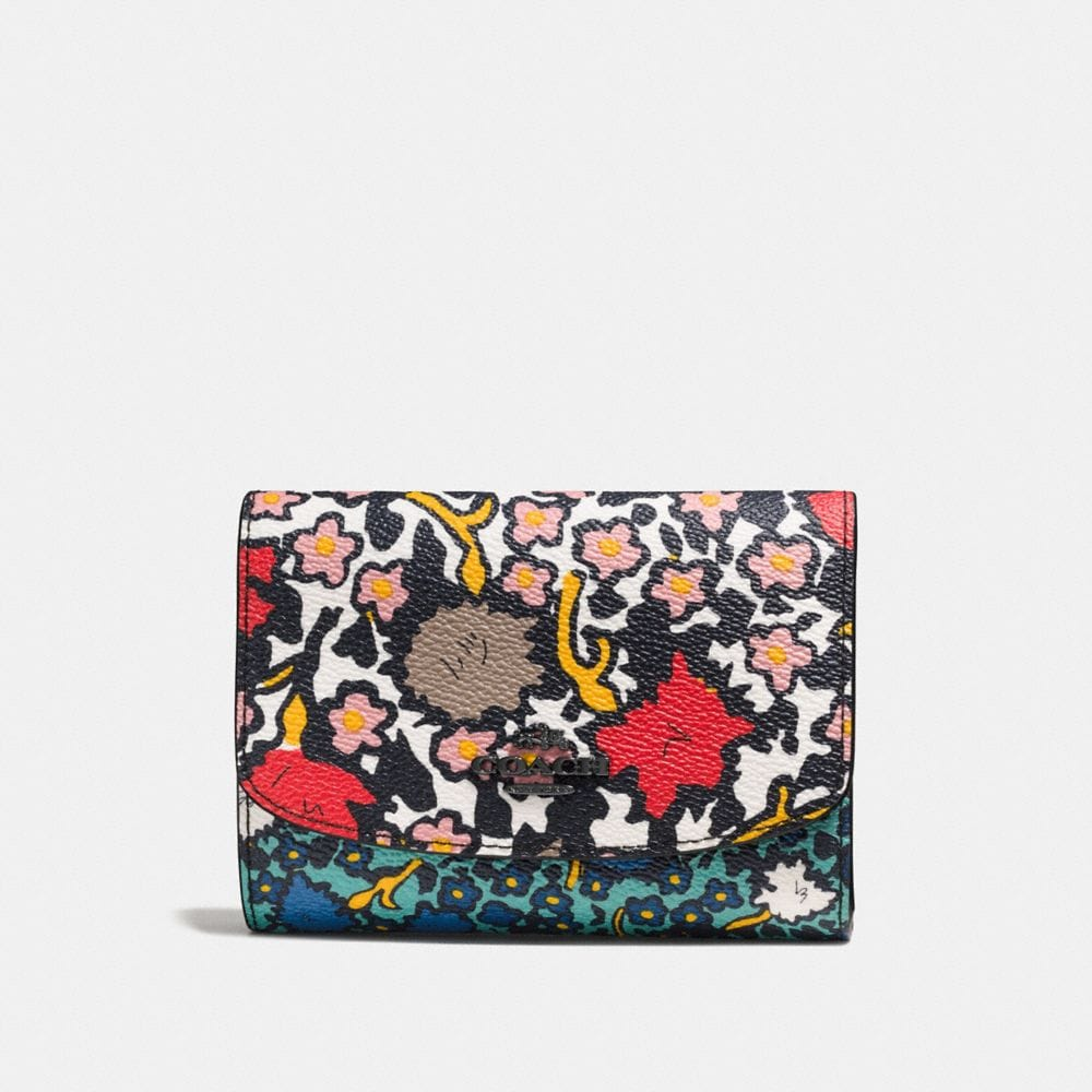 MEDIUM DOUBLE FLAP WALLET IN MIXED YANKEE FLORAL PRINT CANVAS