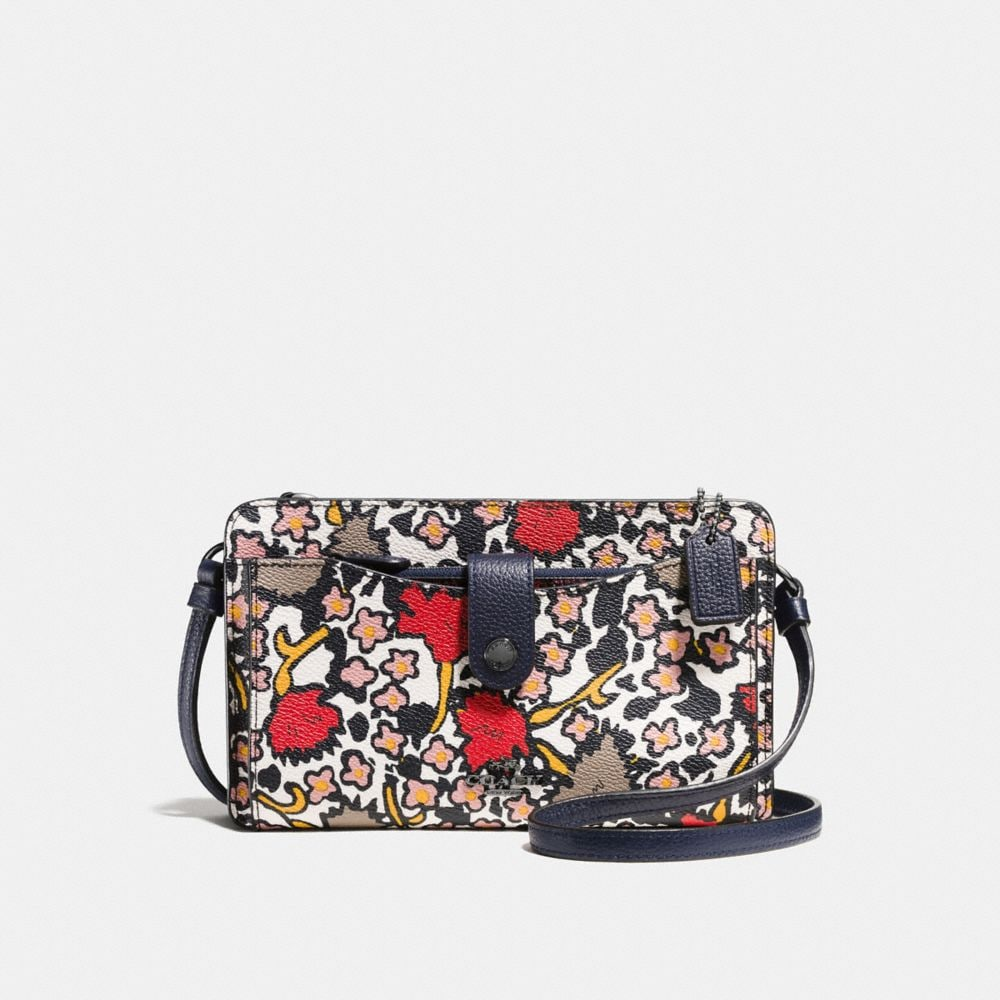 MESSENGER WITH POP-UP POUCH IN MIXED YANKEE FLORAL PRINT CANVAS