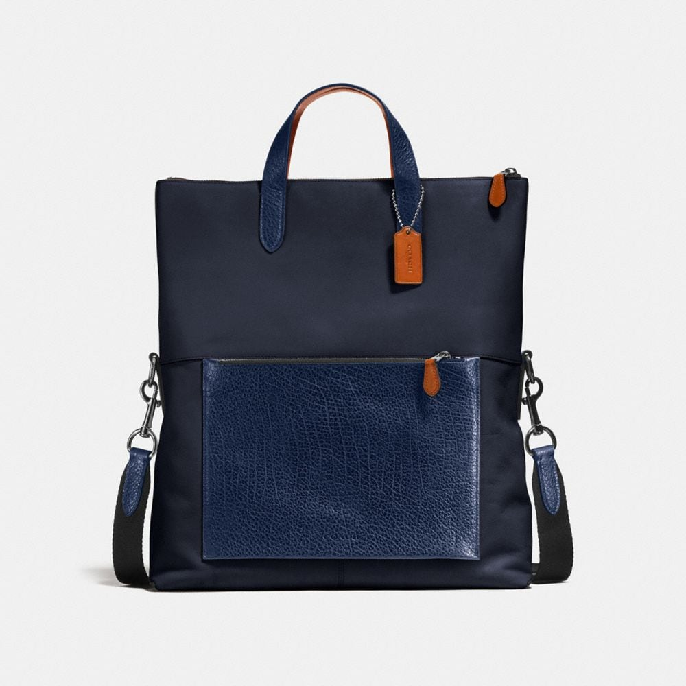 MANHATTAN FOLDOVER TOTE IN MIXED LEATHERS