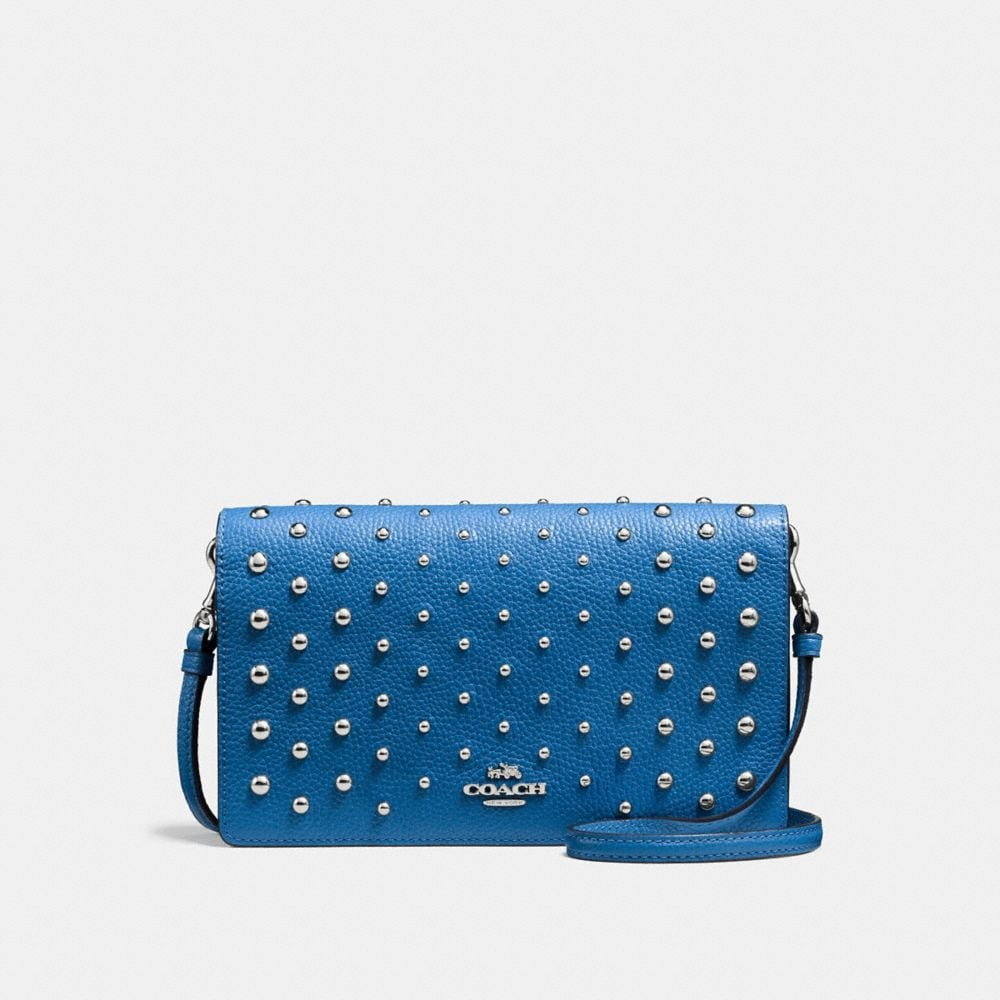 FOLDOVER CROSSBODY IN POLISHED PEBBLE LEATHER WITH OMBRE RIVETS