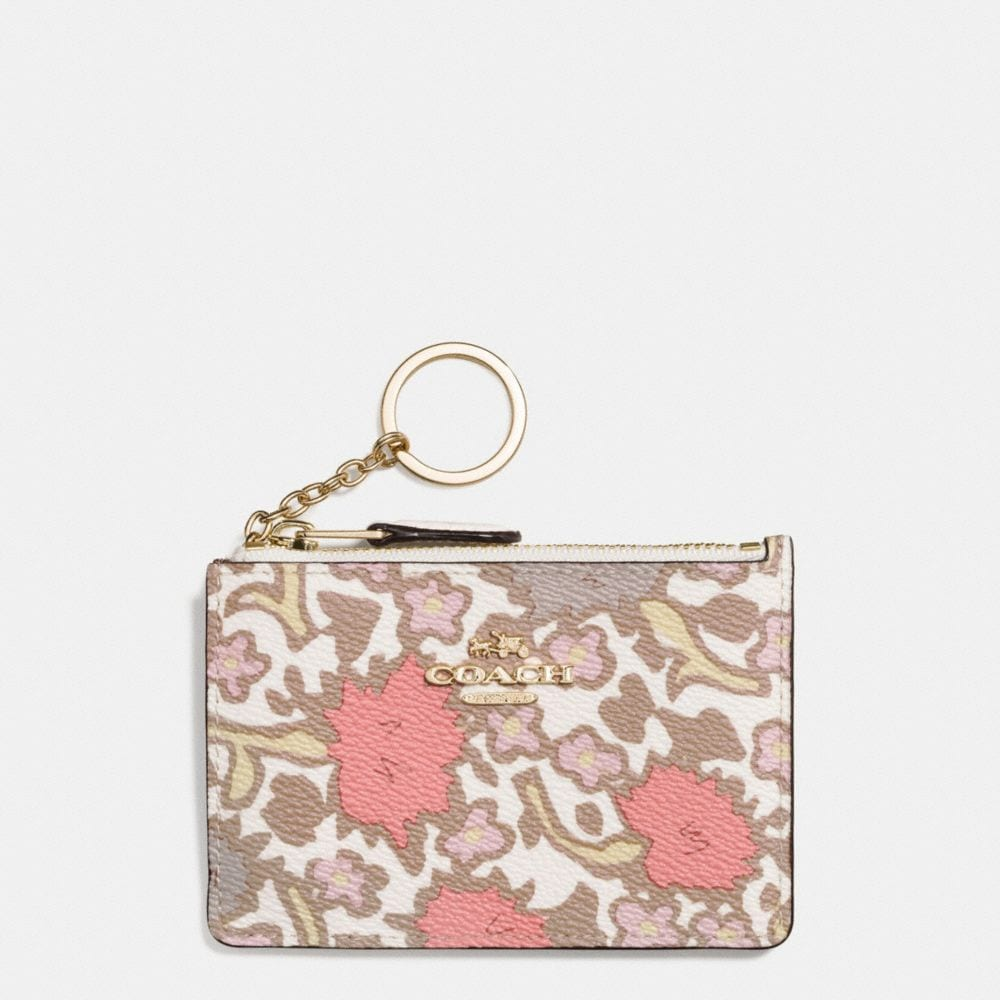 MINI SKINNY ID CASE IN YANKEE FLORAL PRINT COATED CANVAS