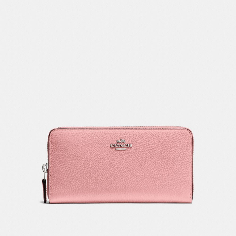 Coach Portefeuille Medium Zip Around en Cuir Marine